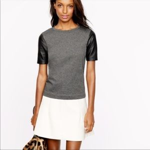 J. Crew Leather Sleeves Gray Black T-Shirt XS
